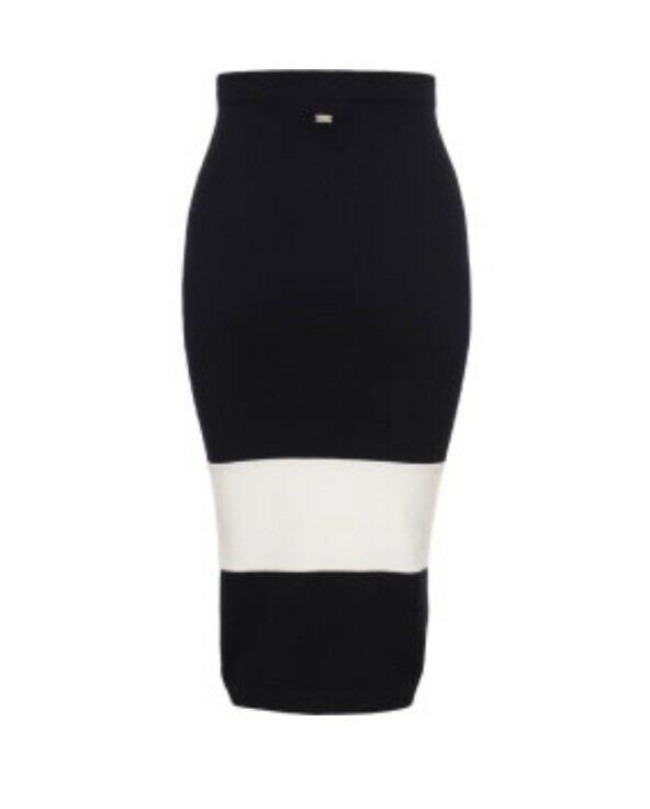 Nuevo  con etiquetas SHISKIN ESCADA SPORT Falda Lana Virgen Negro blancoo Apagado Xl  350  mas barato