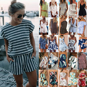 Summer-Women-Holiday-Mini-Playsuit-Jumpsuit-Beach-Shorts-Pants-Boho-Dress-Romper