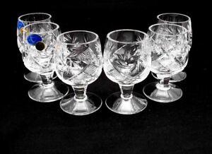SET-OF-6-x-1-7-oz-Neman-Crystal-Belarus-Russian-Shot-Glass-Vintage-Glassware