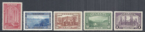 1938 Canada KGVI Pictorial Issue, Complete Set of 5, 241245 MNH XF Gem