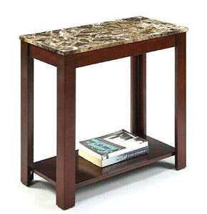 Faux Marble Traditional Style Side/End Table, 24-Inch, Espresso