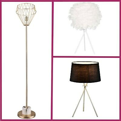 White Feather Floor Lamp Table Gold Metal Marble Tripod Living Room Bedroom Hall