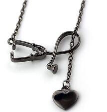 Lariat Medical Doctor Nurse ER Stethoscope Heart Black Pendant Chain Necklace