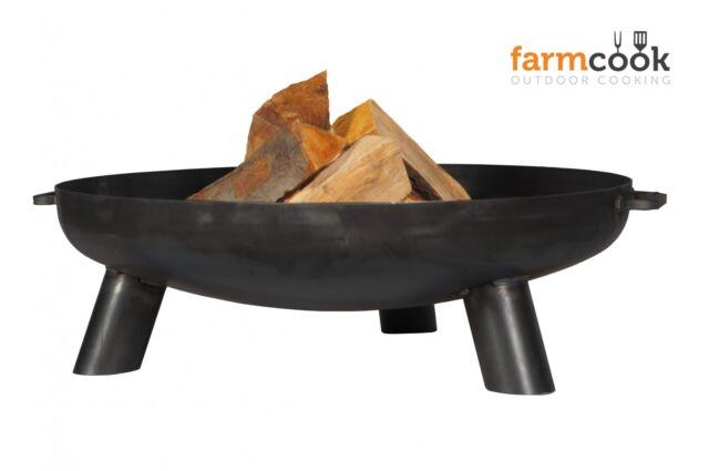 farmcook Feuerschale PAN 1 ☆ Klöppelboden Ø - 60 cm in Rohstahl inkl. Deckel