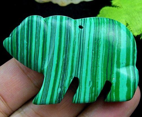 Beautiful unqiue Malachite carved bear Pendant bead 54x32x8mm xh642