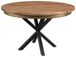 Details about Amish Round Dining Table Modern Metal Base Solid Wood 42\