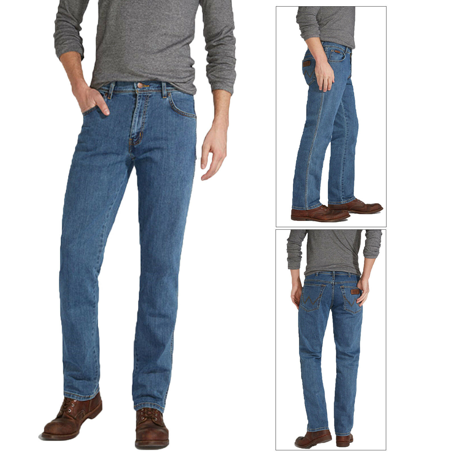Wrangler Mens Texas Stonewash Iconic Designer Stretch Fit Pants Denim Jeans