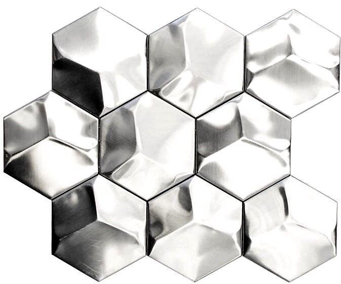 Mosaik Hexagonal 3D Stahl matt Fliesenspiegel Art:129-HXM20SD   10 Matten