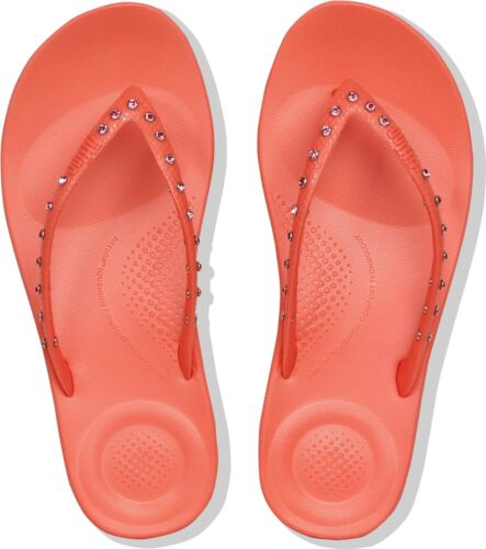 61890ee0d Fitflop™ Iqushion™ Ladies Womens Ergonomic Toe Post Summer Beach Pool Flip  Flops UK 8 Crystal - Sunshine Coral