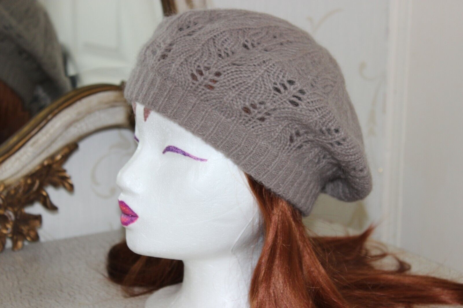 ( Ref 23) Grey & Hint of Brown Wool Blend Ladies Hat Beret One Size NEW