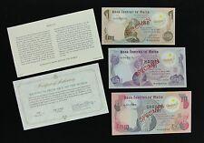 MALTA Set of 3 Original 1979 Specimen Banknotes with COA - Franklin Mint