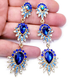 Chandelier-Earrings-Rhinestone-Blue-Crystal-3-3-inch