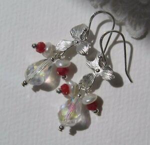 925-Silber-Rubin-Keshi-Perlen-Quarz-Kristall-Ohrringe-Blume-Bluete-Orchidee-NEU
