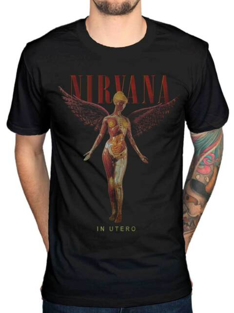 Official Nirvana In Utero Wings T-Shirt Rock Band Kurt Cobain Nevermind In Utero