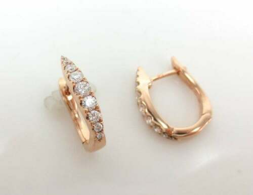 Details about  /1.10Ct Round Cut Diamond Ladies Party Wear Hoop Earring in 14K Rose Gold Over