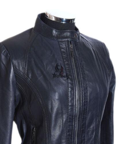 femme Mila d'agneau Veste rétro en style en cuir bleu pour véritable motard cuir 88wqBaU