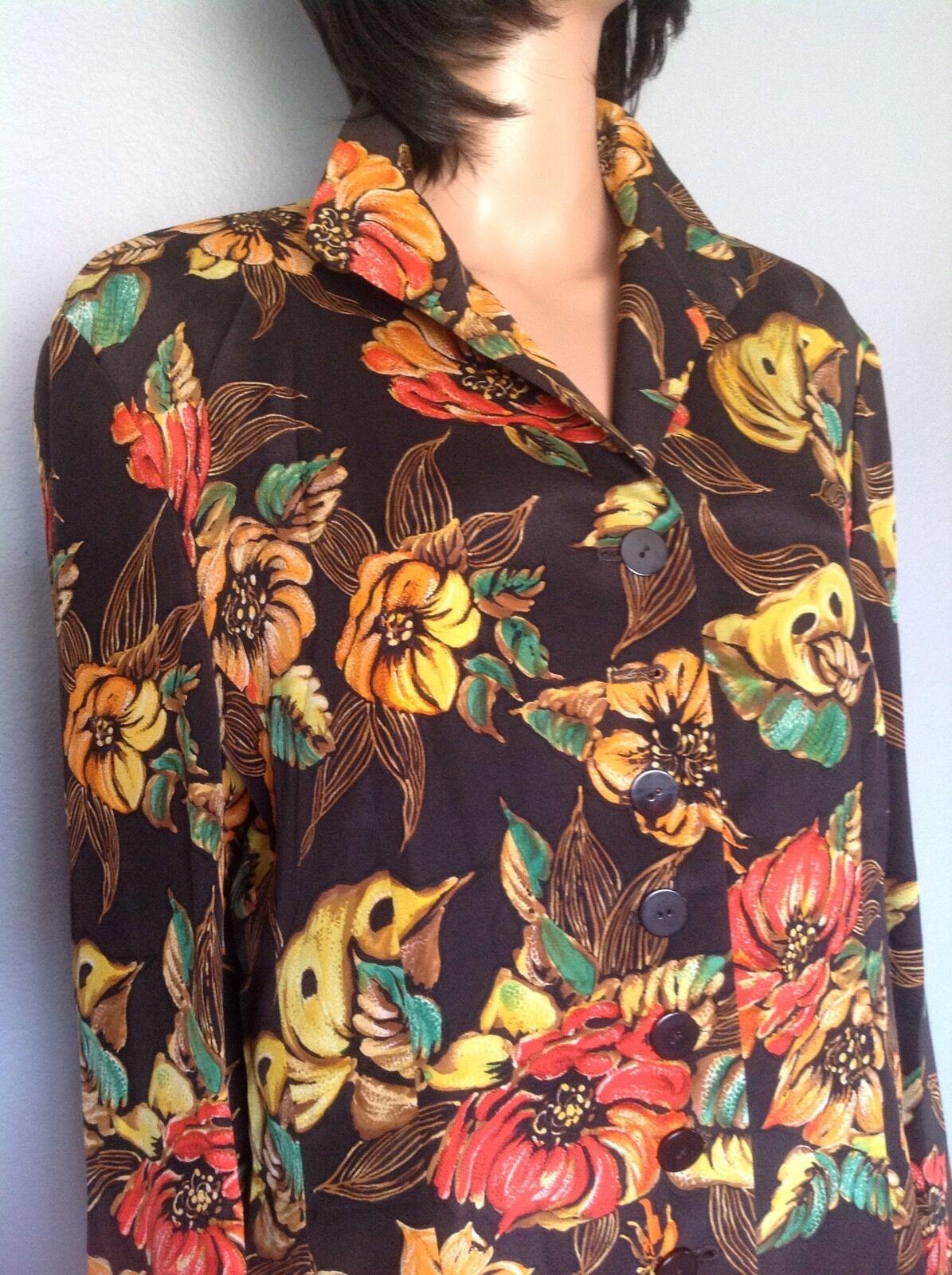 Dana Buchman Woherren  Größe 12 Silk Tunic Floral Designer Fashion Button Stylish