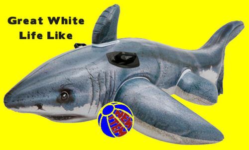 Shark Great White Shark Inflatable Ride On Jaws Pool Beach Lake Float Toy 57525