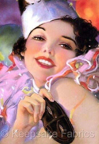 Gorgeous Smiling Mardi Gras Lady Quilt Block Multi Szs FrEE ShiPPinG WoRld WiDE