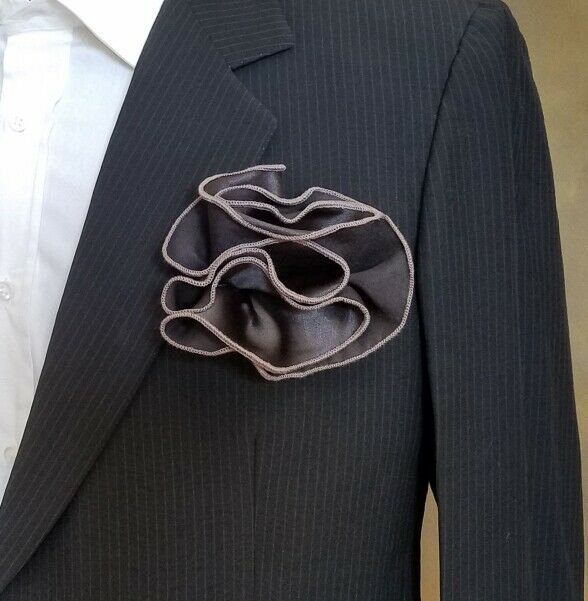 NEW - Men's 2-in-1 Pouf Pocket Square - Brown on Tungsten Grey