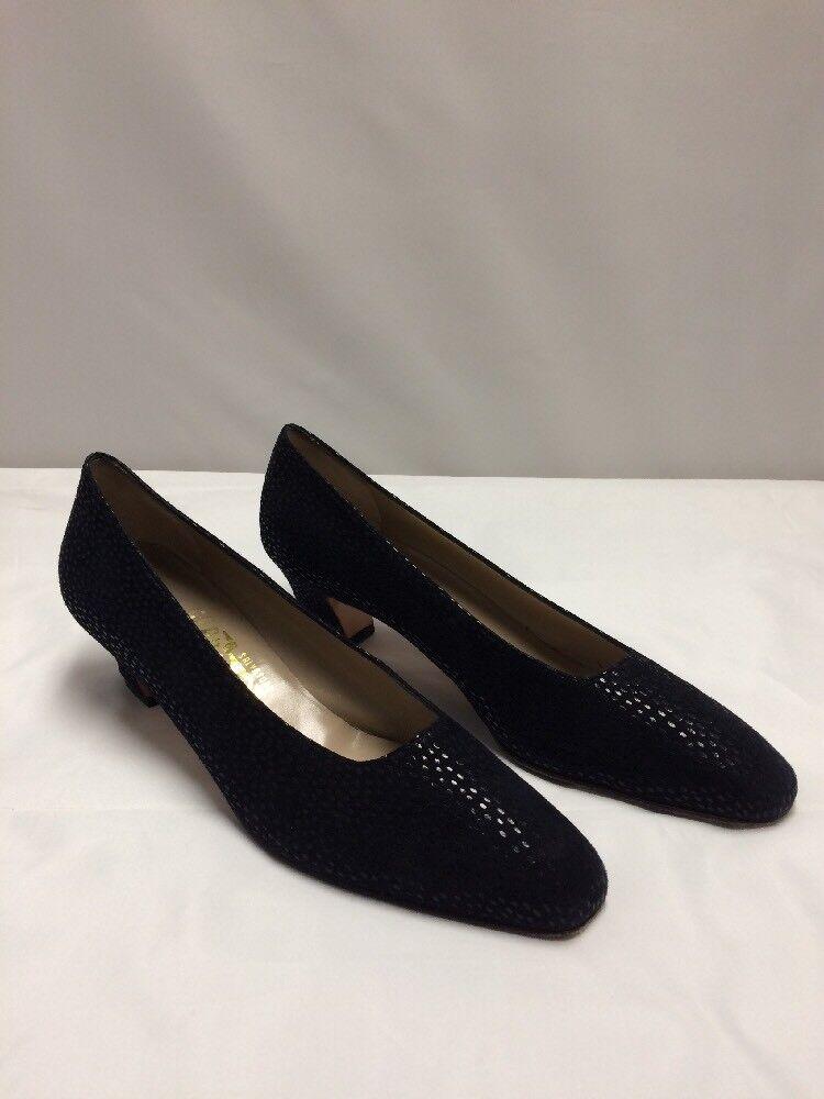 SALVATORE FERRAGAMO nero Suede Pebble Heels  Low Pumps Wouomo Dimensione 9AAA  senza esitazione! acquista ora!