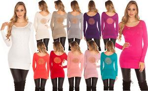 Maglione-pullover-lungo-donna-strass-cameo-tulle-aderente-manica-lunga-nuovo