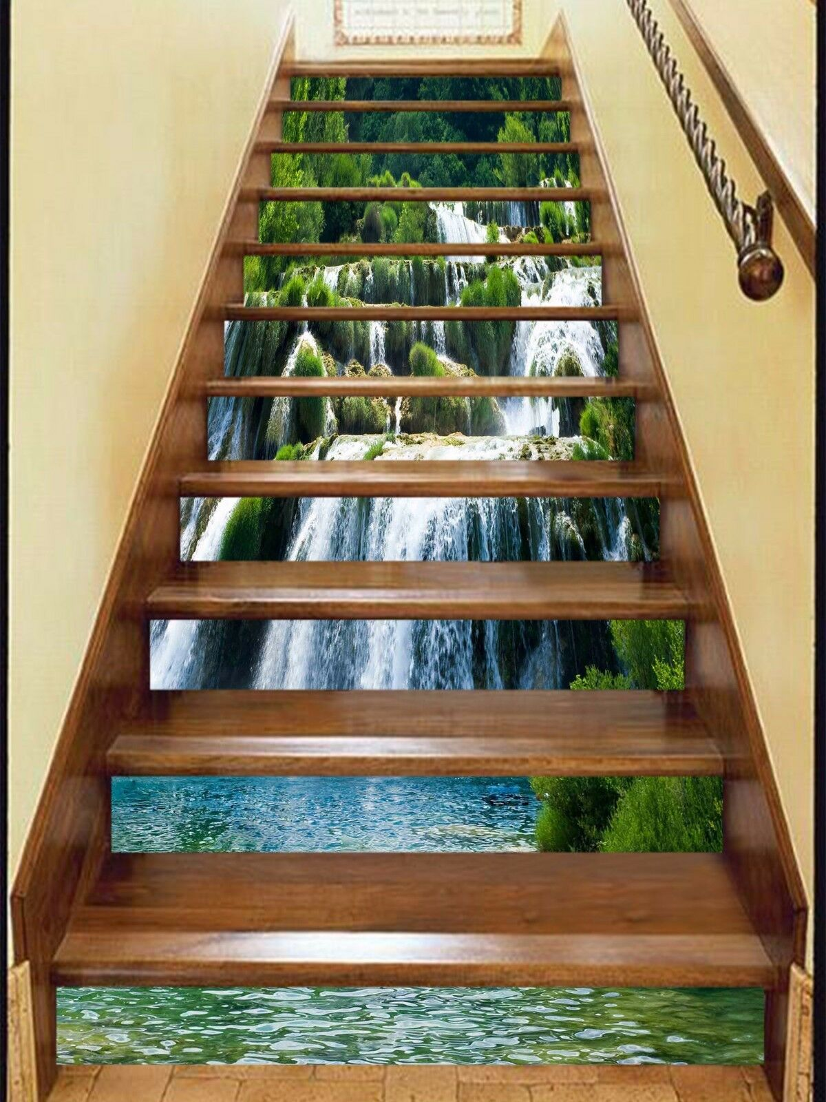 3D Valley Waterfall 8474 Risers Decoration Photo Mural Vinyl Decal Wallpaper CA