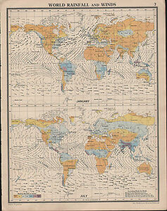 1939 MAP ~ WORLD RAINFALL & WINDS JANUARY & JULY DIRECTION ... Prevailing Winds Map on