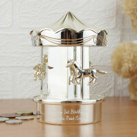 Personalised Silver Plated Carousel Moneybox Gift Boy Or Girl Child Christening