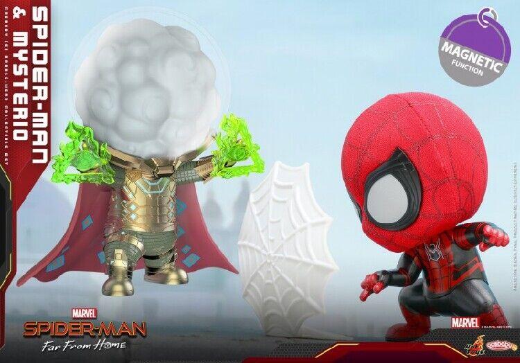 MARVEL Hot Juguetes Artesanía 633 Spider-Man & Mysterio Cosbaby (s) Bobble-Head Set
