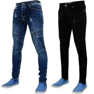 ENZO-Para-Hombre-Skinny-Ripped-Jeans-Ajustado-Elastizado-deshilachados-tela-vaquera-envejecida