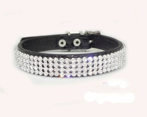 Dog Cat Rhinestone Collar Crystal Diamond Leather Pet Dog Puppy Collar S M L