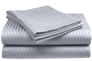 Full-Size-Silver-Gray-400-Thread-Count-100-Cotton-Sateen-Dobby-Stripe-Sheet-Set