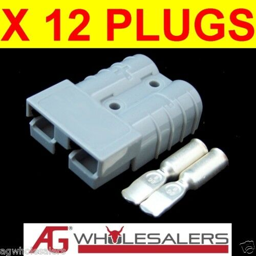 12 x ANDERSON STYLE 50 AMP PLUG CONNECTORS JOINER 12V 50a GREY