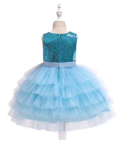 Princess Girl Toddler Sequin Party Tutu Dress Pageant Wedding Birthday Gown ZG9