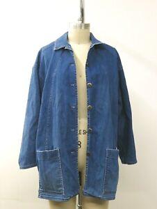 Vintage-Catalina-Blue-DENIM-Button-Down-Barn-Coat-Jeans-Women-039-s-SZ-14-USA-Made