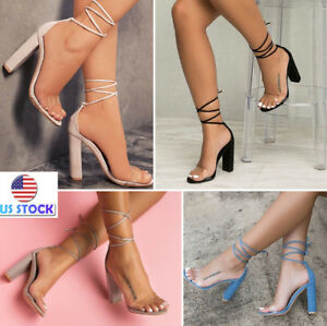 Summer-Womens-Ankle-High-Heel-Lace-Up-Transparent-Open-Toe-Platforms-Party-Shoes