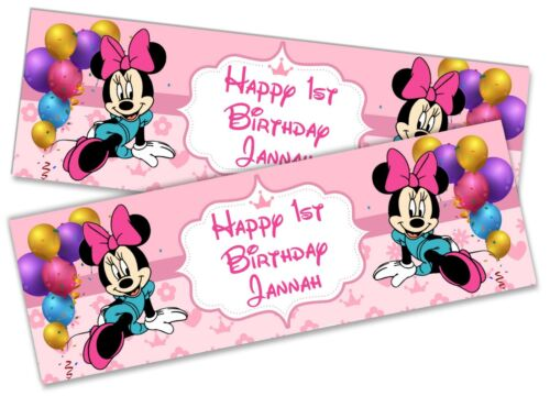 x2 Personalised Birthday Banner Minnie Children Kids Party Decoration Poster