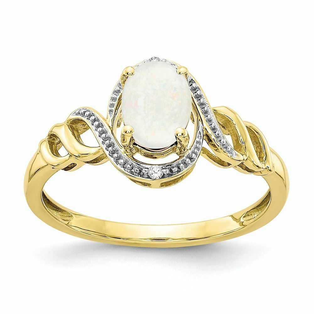 10K gold Genuine Opal October Birthstone and Diamond Ring (0.02 CTW)