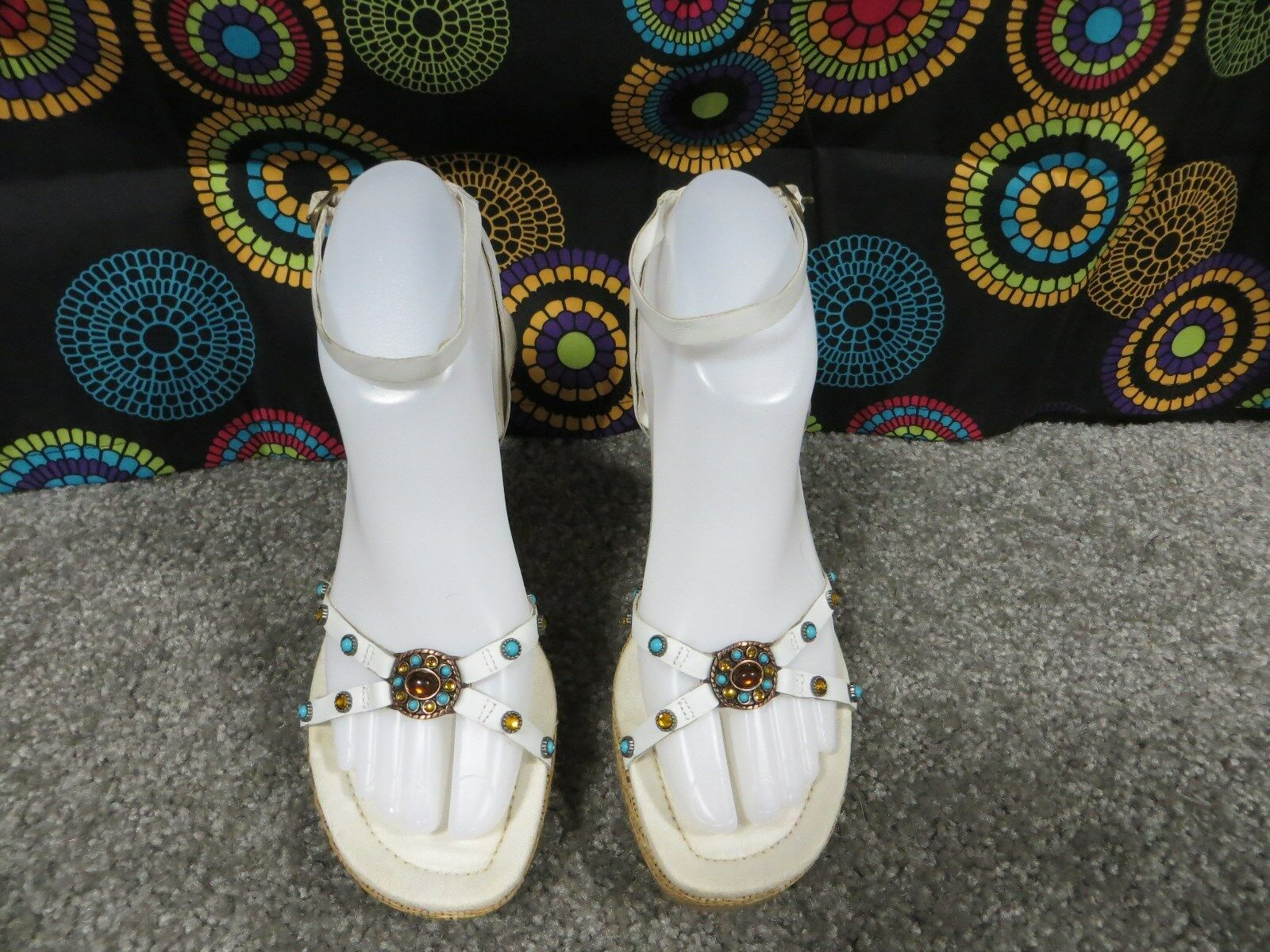 Mix It White Fashion Open Sandals Toe Woven Design Wedge Sandals Open w/Jewel Accents, 7-7.5 aaae1e