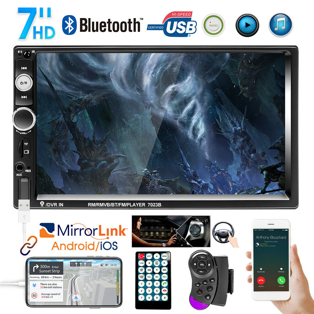 autoradio: Autoradio 7″ Doppio 2DIN Lettore MP5 stereo Touch Screen USB AUX IN FM Bluetooth
