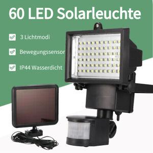 60-LED-Solarleuchte-Aussenleuchte-Aussen-Fluter-Gartenstrahler-MIT-Bewegungsmelder