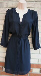 H-amp-M-BLACK-HALF-BUTTONED-BELTED-LACE-LONG-SLEEVE-SHEER-A-LINE-TEA-DRESS-8-S