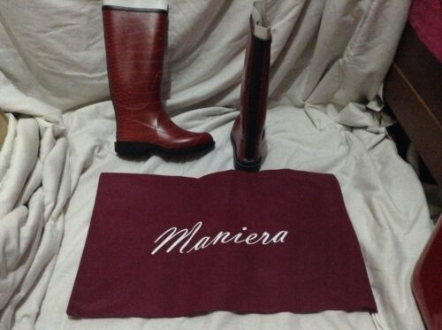 Rain 7 Maniera New Quality 4 High Boots Red Size Wellington Adult Boxed And TIvZxdx