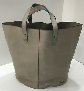 Paul-Smith-TAUPE-LEATHER-WEEKEND-BAG-TOTE-SHOPPER-Bag-Made-in-ITALY