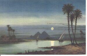Moonlight-Scene-near-Pyramid-of-Giza-Egypt-Artist-Signed-AYOUB-BISHAI-R55