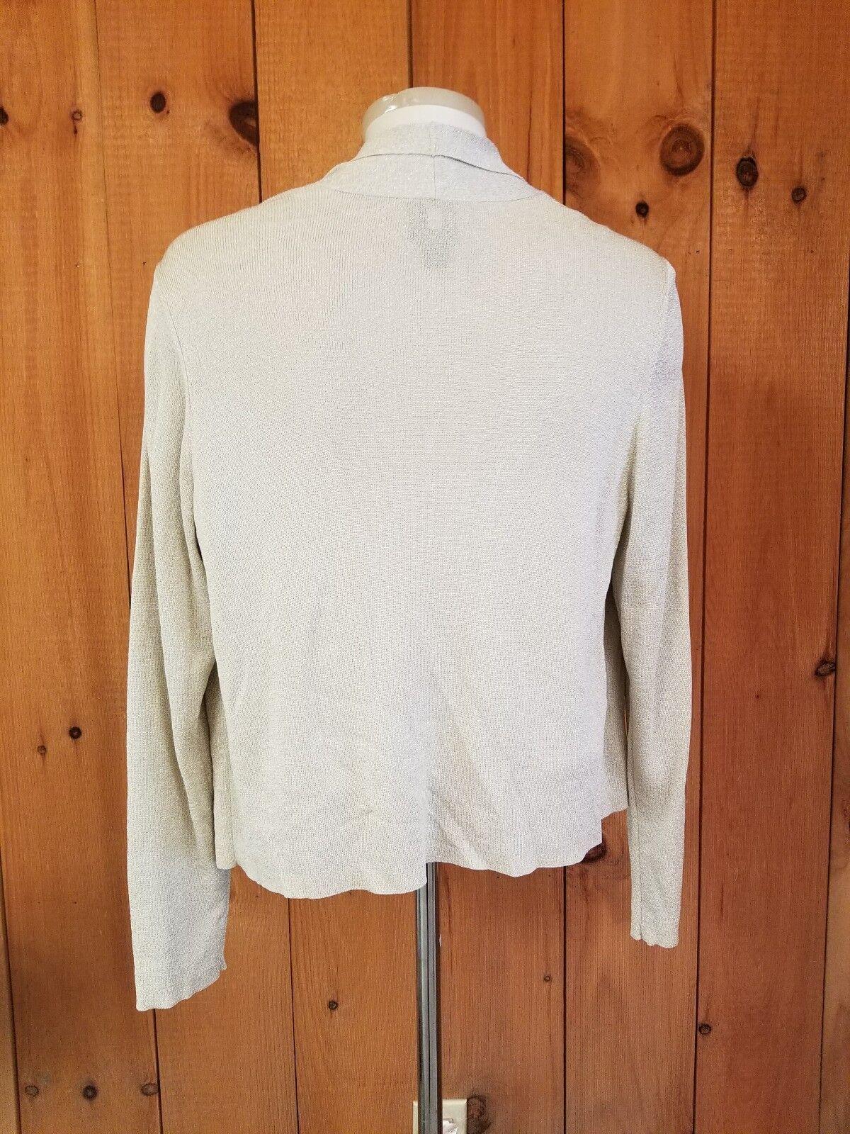 Eileen Fisher Sparkle Burnished Burnished Burnished gold Sweater Large Wrap Coverup Metallic 50ebf8