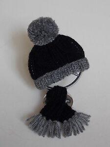 46d1cbe4952c3c gr.-schw. Mütze + Schal für Ihren Mercedes Stern * mit Befestigung ...