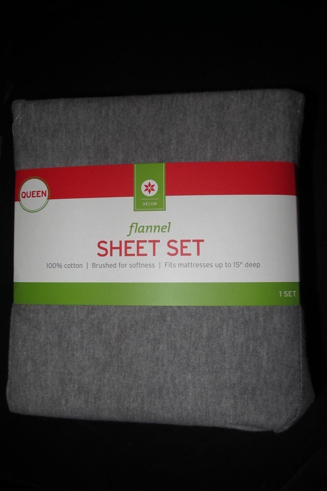 Evergreen Decor Target Flannel Sheet Set Solid Grey Queen Size For Sale Online Ebay