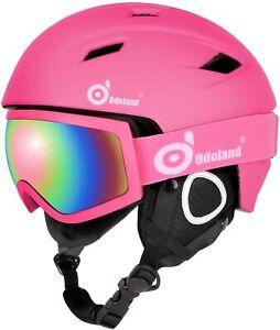 Odoland-Snow-Ski-Helmet-and-Goggles-Set-for-Kids-XS-48-50cm-Pink